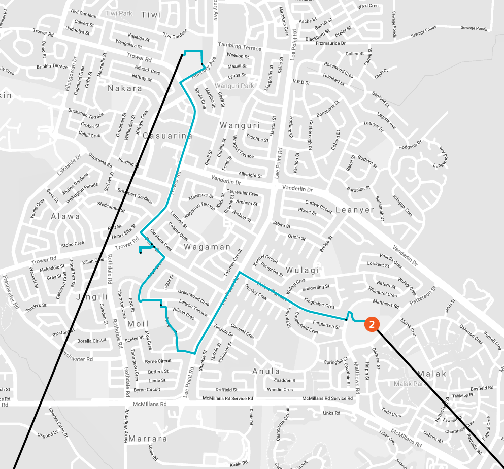 Queen baton relay casuarina map