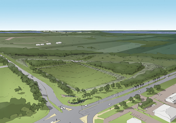 An artist's impression of the Marrara detention basin when complete
