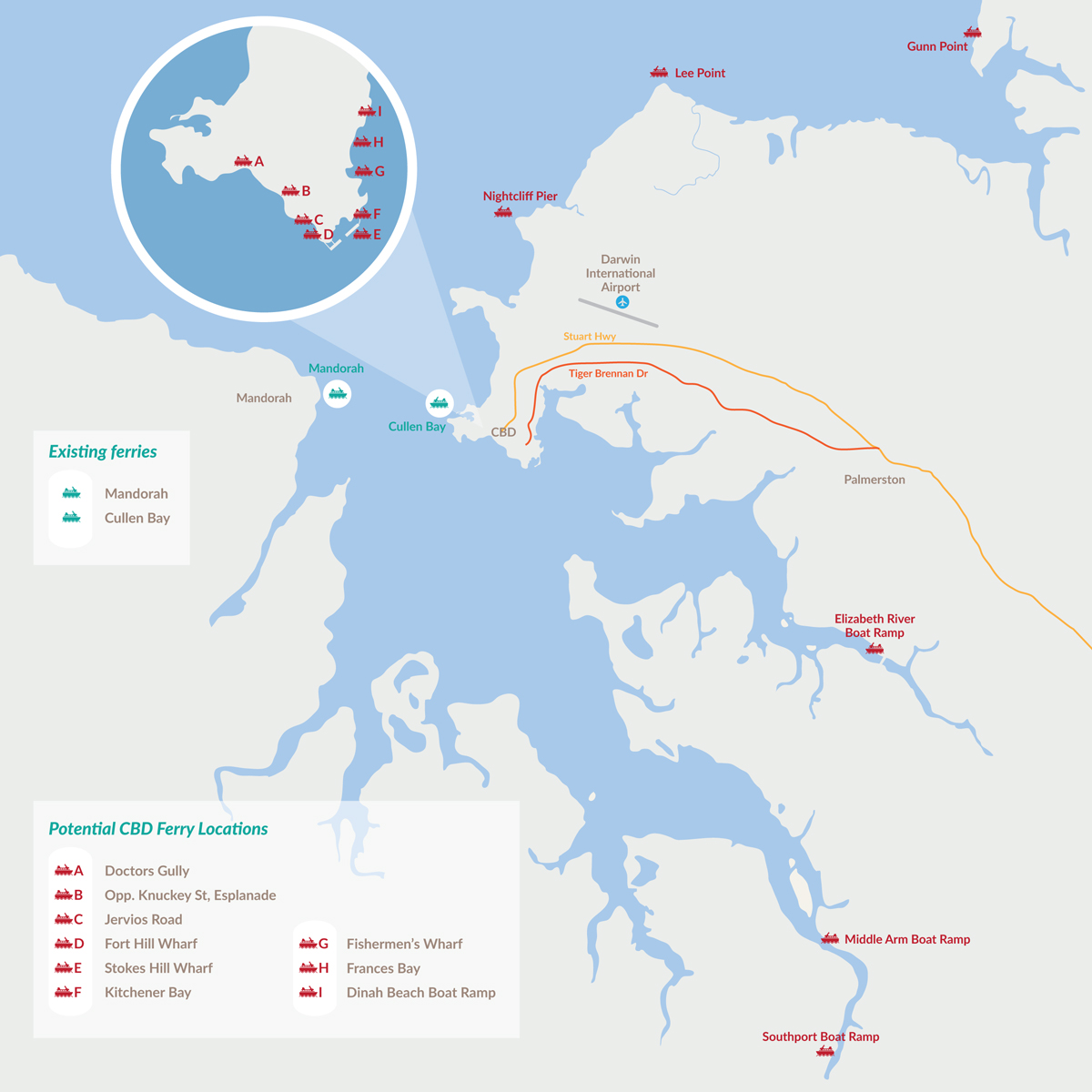 ferry services study map