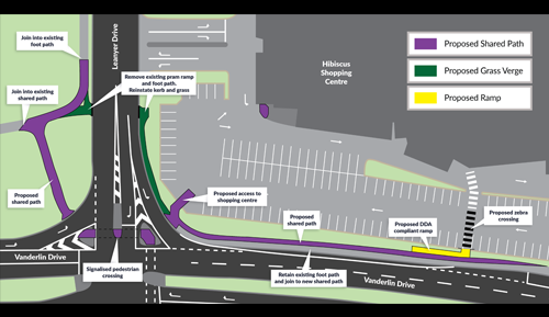 Safe crossing and connectivity improvement works on Vanderlin Drive and Leanyer Drive - Hibiscus Shopping Centre, Leanyer