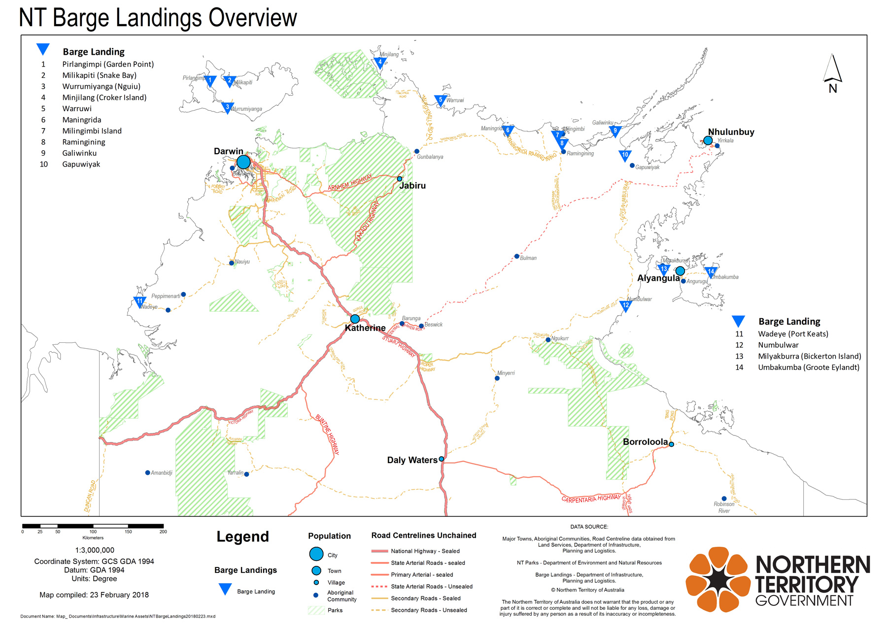 Map of remote barge landings in the Northern Territory