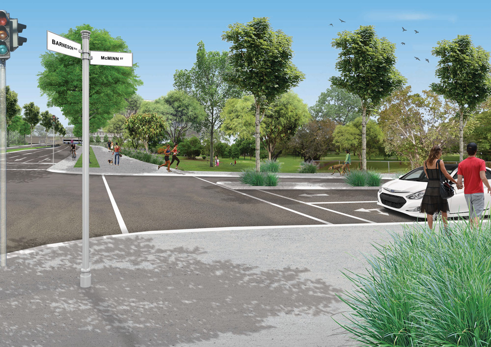 An artists impression of what the intersection of barneson boulevard and McMinn street may look like with extra geenery